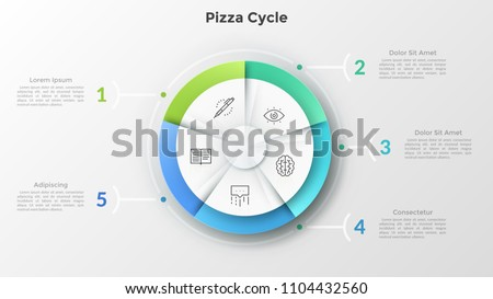 Round pizza chart divided into 5 equal sectors with linear symbols inside connected to numbered text boxes. Concept of five features of business project. Infographic design layout. Vector illustration Сток-фото ©