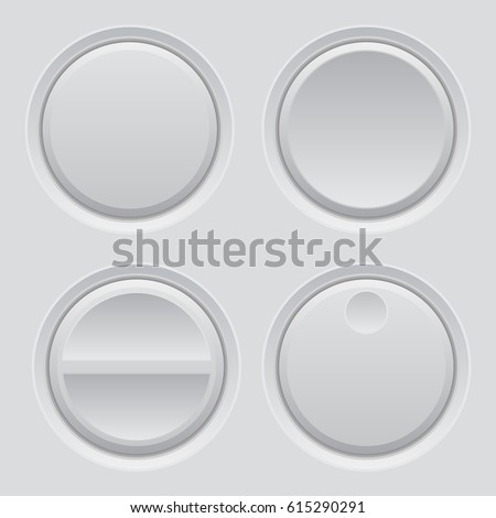 Round plastic buttons on matted background. Vector 3d illustration