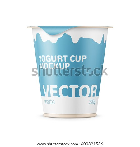 Round plastic pot with matte carton wrap and foil cover for dairy products, yogurt, cream, dessert. 290 g. Realistic packaging mockup template with sample design. Front view. Vector illustration.