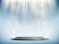 Round podium illuminated by searchlights. Blank background with copy space. Stock vector illustration.