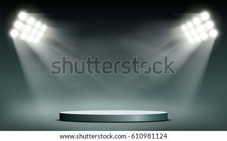 Round podium illuminated by searchlights. Stock vector illustration.