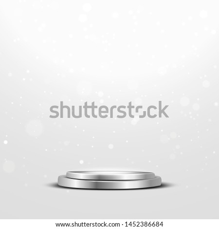 Round podium with a spotlight and bokeh on a white background, the first place, fame and popularity. Vector illustration. - Vector