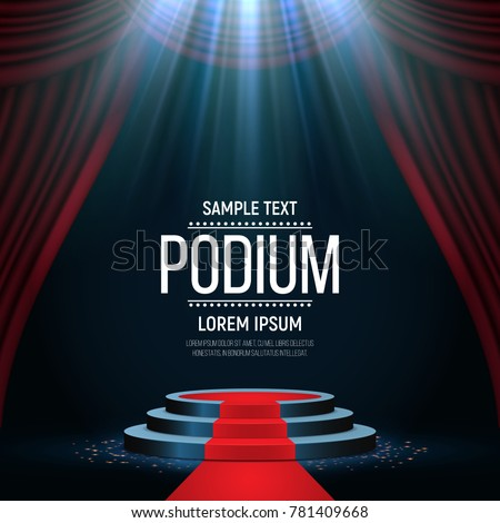 Round podium with red carpet and curtain. Empty pedestal for award ceremony. Platform illuminated by spotlights. Vector illustration.