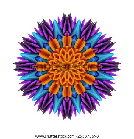 Round psychedelic pattern. Abstract colorful flower isolated on white background.