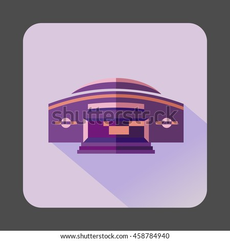 Round purple building icon in flat style on a lilac background