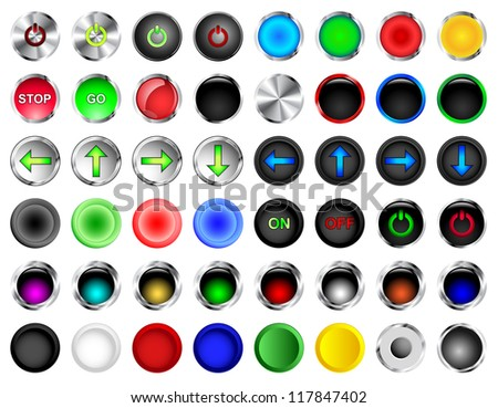 Round push buttons in different colors and styles