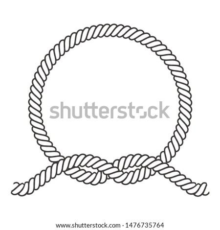 Round rope frame. Circle ropes, rounded border and decorative marine cable frame circles. Rounds cordage knot stamp or nautical twisted knots logo isolated vector icon