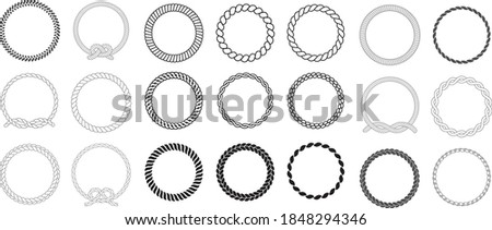 Round rope frames. cable circle shapes strength decorative vintage ropes vector collection. illustration cable thread