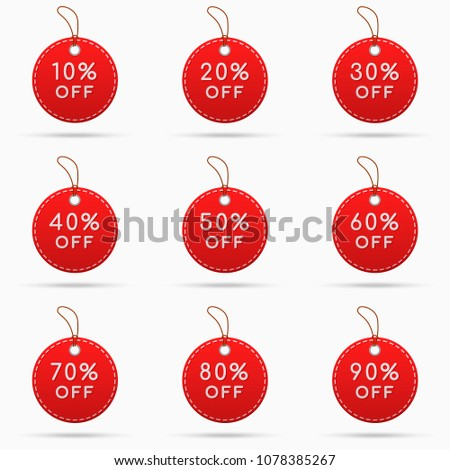 Round sale tags with discounts isolated on white background. Vector illustration.