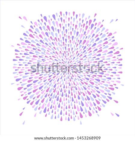 Round shape, circle made of soft violet, lilac, purple drops, droplets, raindrops, blobs of various size. Radial splatter, spatter, splash background. Template for borders, frames, design element.