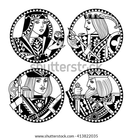 Round shapes with faces of playing cards characters in black and white colors. Original vintage design for 