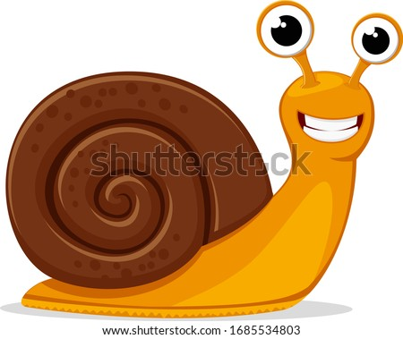 Round shell snail crawls and smiles on a white. Character Сток-фото ©