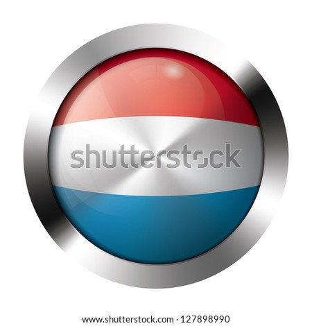 Round shiny metal button with flag of luxembourg europe.