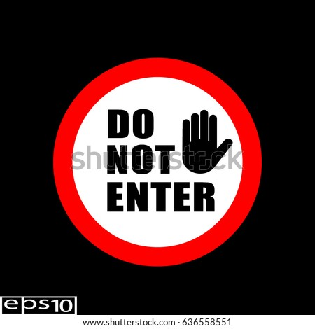 Round sign , icon DO NOT ENTER with hand icon , red thin line - vector illustration