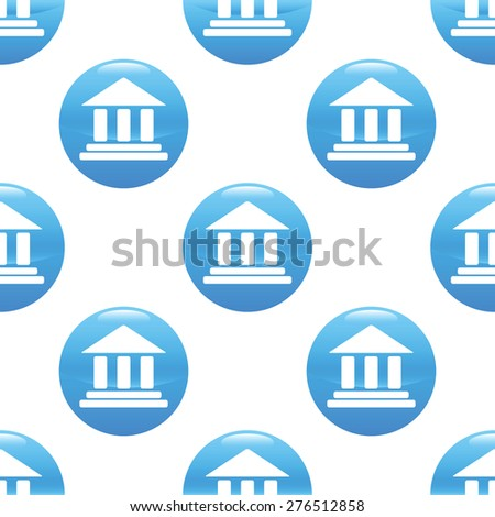 Round sign with image of classical building, repeated on white background