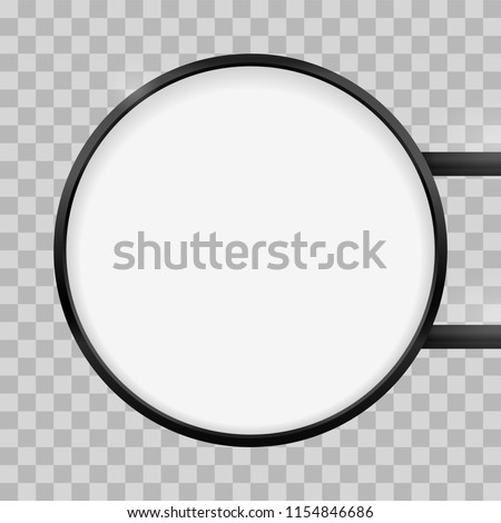 Round signage light box signboard. Vector black metal circle lightbox sign box mockup for logo template. Circular cafe, restaurant outdoor mock up on transparent background