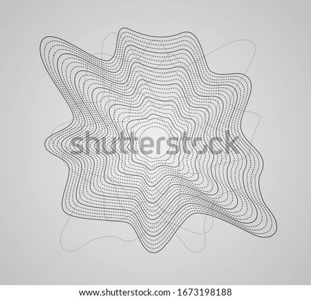 Round sound wave.  Circle ripple pulse. Earthquake impulse. Curve splash transition. Energy waves. Minimal lines abstract. Circular dynamic curve. Vector illustration design