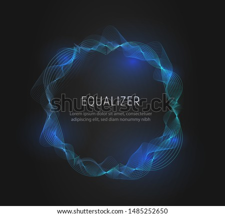 Round Sound wave frame. Luminous bright voice wave. Vector illustration on black background.