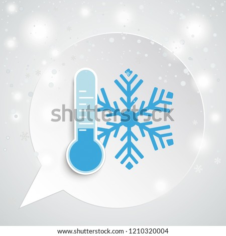 Round speech bubble with thermometer and snowflake. Eps 10 vector file.