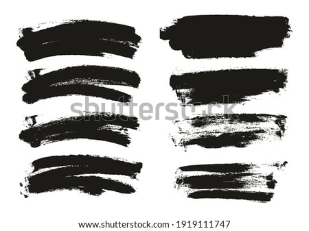 Round Sponge Thin Artist Long And Curved Brush strokes. Background Mix of High Detailed Abstract stroke Set, Vector