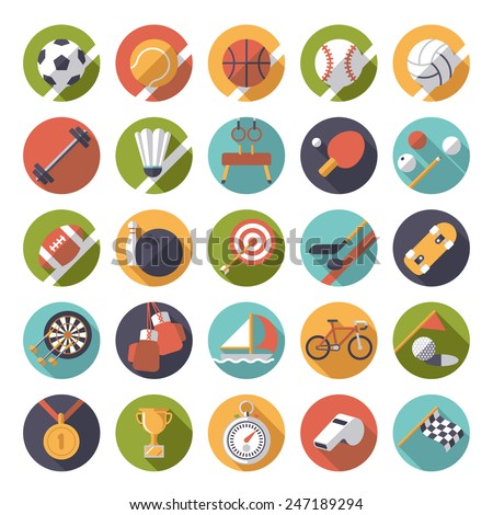 Round sports and gymnastics flat design long shadow vector icon set. Collection of 25 color symbols in circles.