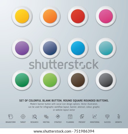 Round square rounded buttons. Set of colorful blank button. Can be used for info-graphic, workflow, layout, banner, abstract, colour, graphic or website layout vector, business, and marketing.