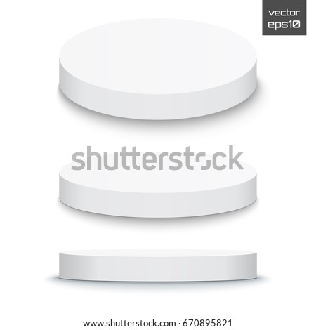 Round stage podium isolated on white background. 3d Pedestal. Vector illustration.