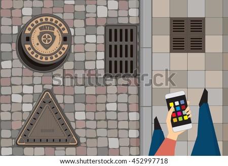 round steel sewer manhole on...