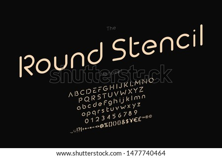 Round Stencil alphabet and font. Vector abc, numbers and letters