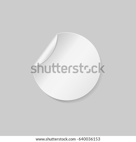 Round sticker. Round peel off paper sticker with shadow. isolated on white background. Vector illustration. Eps 10 #640036153