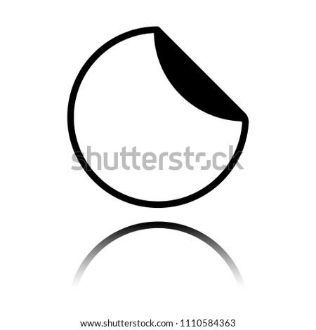 round sticker with bent edge