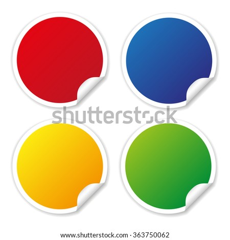 Round Stickers in different colors for write texts and titles. #363750062
