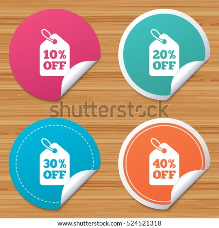 Round stickers or website banners. Sale price tag icons. Discount special offer symbols. 10%, 20%, 30% and 40% percent off signs. Circle badges with bended corner. Vector