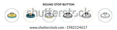 Round stop button icon in filled, thin line, outline and stroke style. Vector illustration of two colored and black round stop button vector icons designs can be used for mobile, ui, web