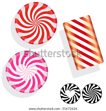 Round swirl candy.  Vector set includes circle, bar, and silhouette mints, as well as Valentine's Day heart peppermints.