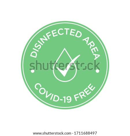 Round symbol for disinfected areas of covid-19. Coronavirus free area icon.