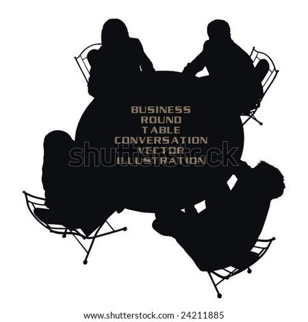 round table business conversation vector illustration