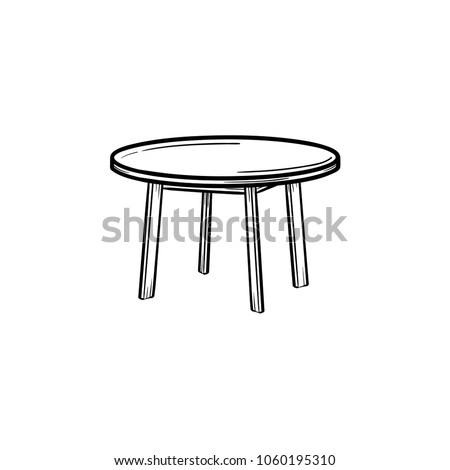 Round table hand drawn outline doodle icon. Coffee table vector sketch illustration for print, web, mobile and infographics isolated on white background. Stock photo ©