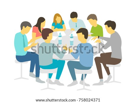 Round Table Talks Brainstorm. Team Business People Meeting Conference Eight  People. White Background Stock