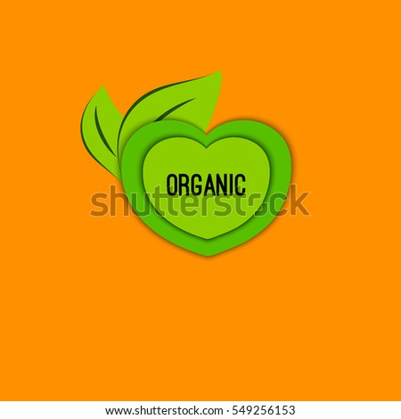 Round tag organic. Vector icon, badge, label, logo with green leaves. Sign of vegetarianism, bio, vegan, natural product. Symbol of nature, freshness health healthy living