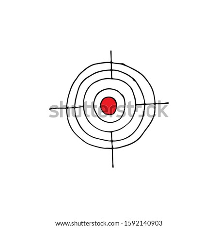 Round target illustration. Voting, election concept. Yes or No. Flat doodle hand drawn stile target. Vector isolated illustration on white background for poster, cards and web. ストックフォト ©