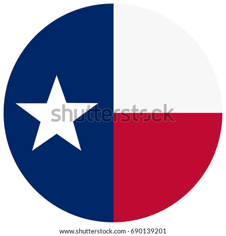 Round Texas state flag vector icon isolated on white background. USA Texas state flag button #690139201