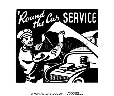 Round The Car Service 3 - Retro Ad Art Banner