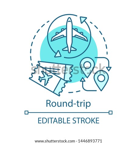 Round trip concept icon. Return ticket idea thin line illustration. Travelling by plane. Airplane trip. Aircraft flight path. Vector isolated outline drawing. Editable stroke