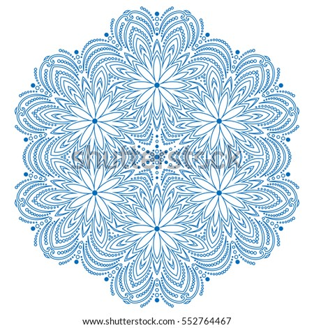 round vector blue snowflake