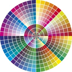 Round vector color chart for the printing industry with 216 different color tones for promotion, advertising and support
