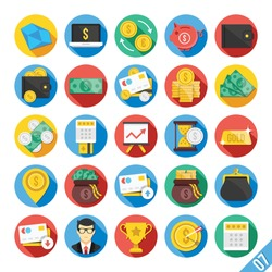 Round vector flat icons set with long shadow for web and mobile apps. Colorful modern design illustrations,elements,concepts of banking,financial service, business growth, investment, accounting, etc.