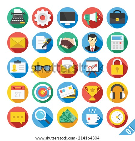 Round vector flat icons set with long shadow for web and mobile apps. Colorful modern design illustrations, elements and concepts of business, office work, marketing, seo.Isolated on white background.