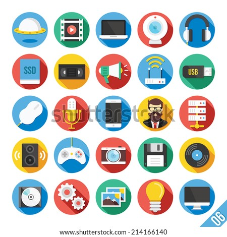 round vector flat icons set