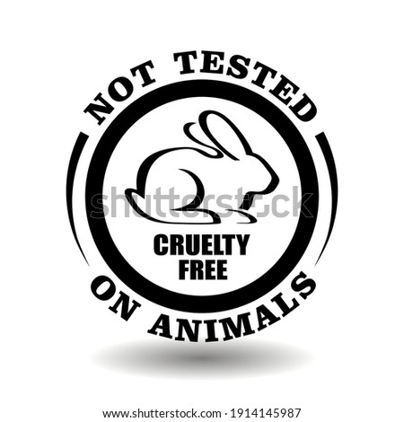 Round vector stamp Not tested on animals for product packaging symbol. Cruelty free icon with hand drawn rabbit outline illustration Foto stock ©